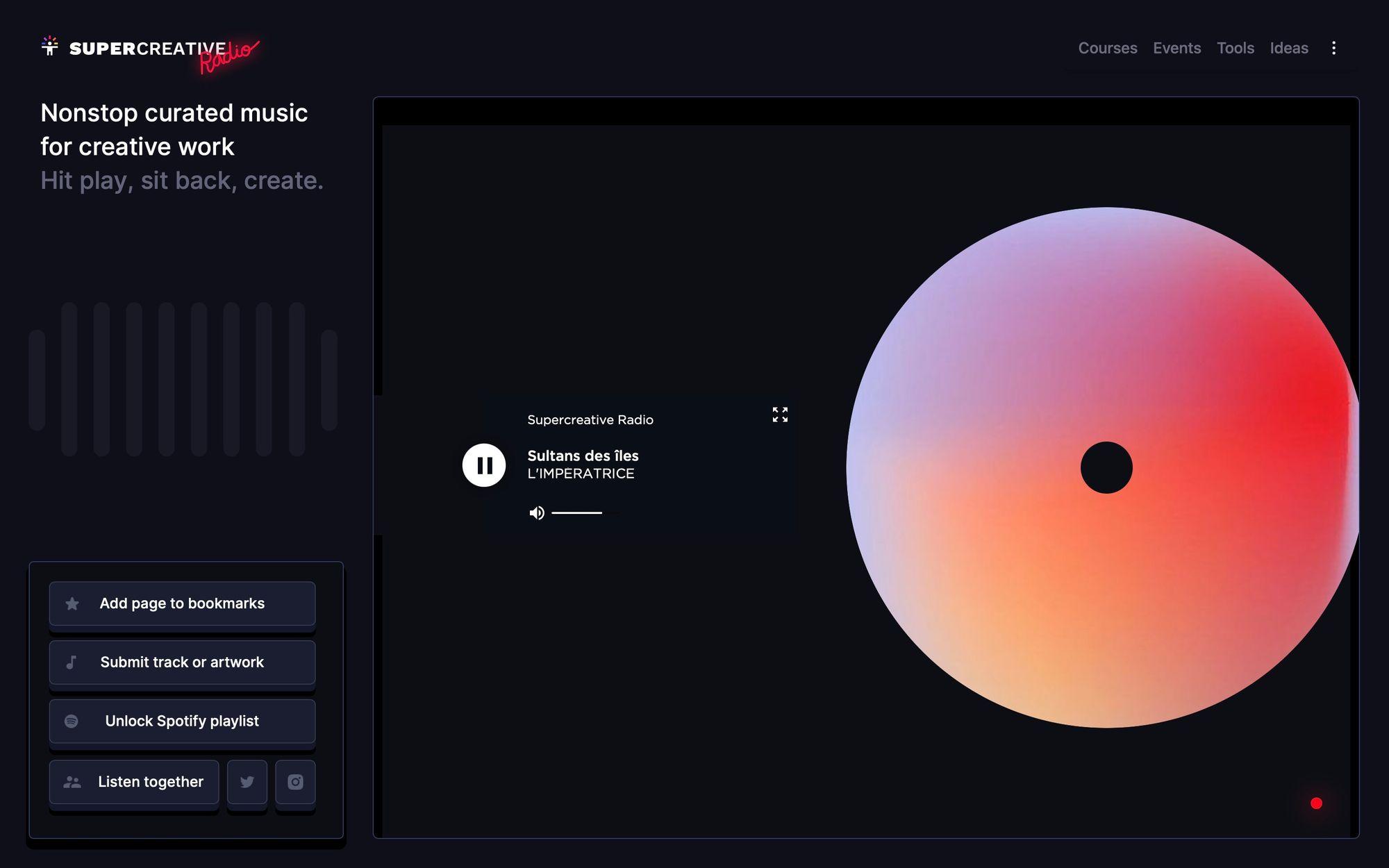 Supercreative онлайн радио для дизайнеров