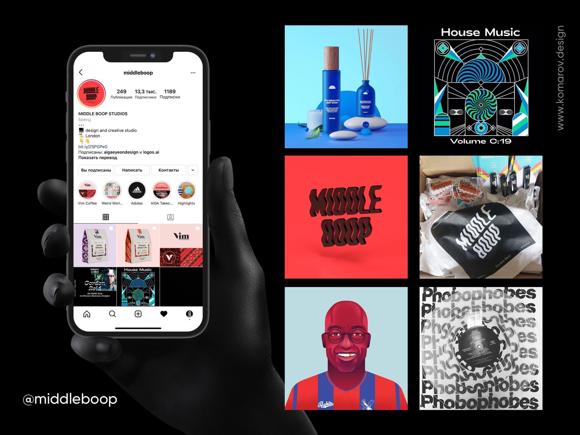 Инстаграм-аккаунт креативной студии Middleboop