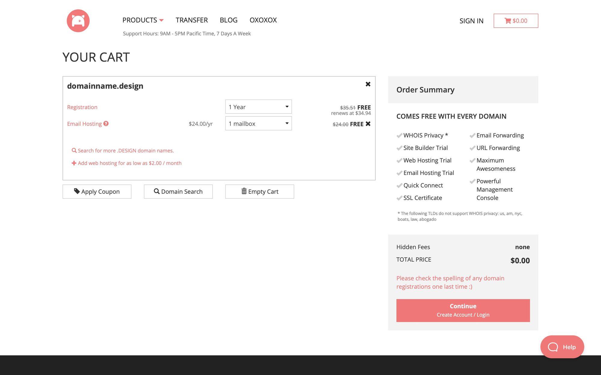 Бесплатный домен в зоне .design