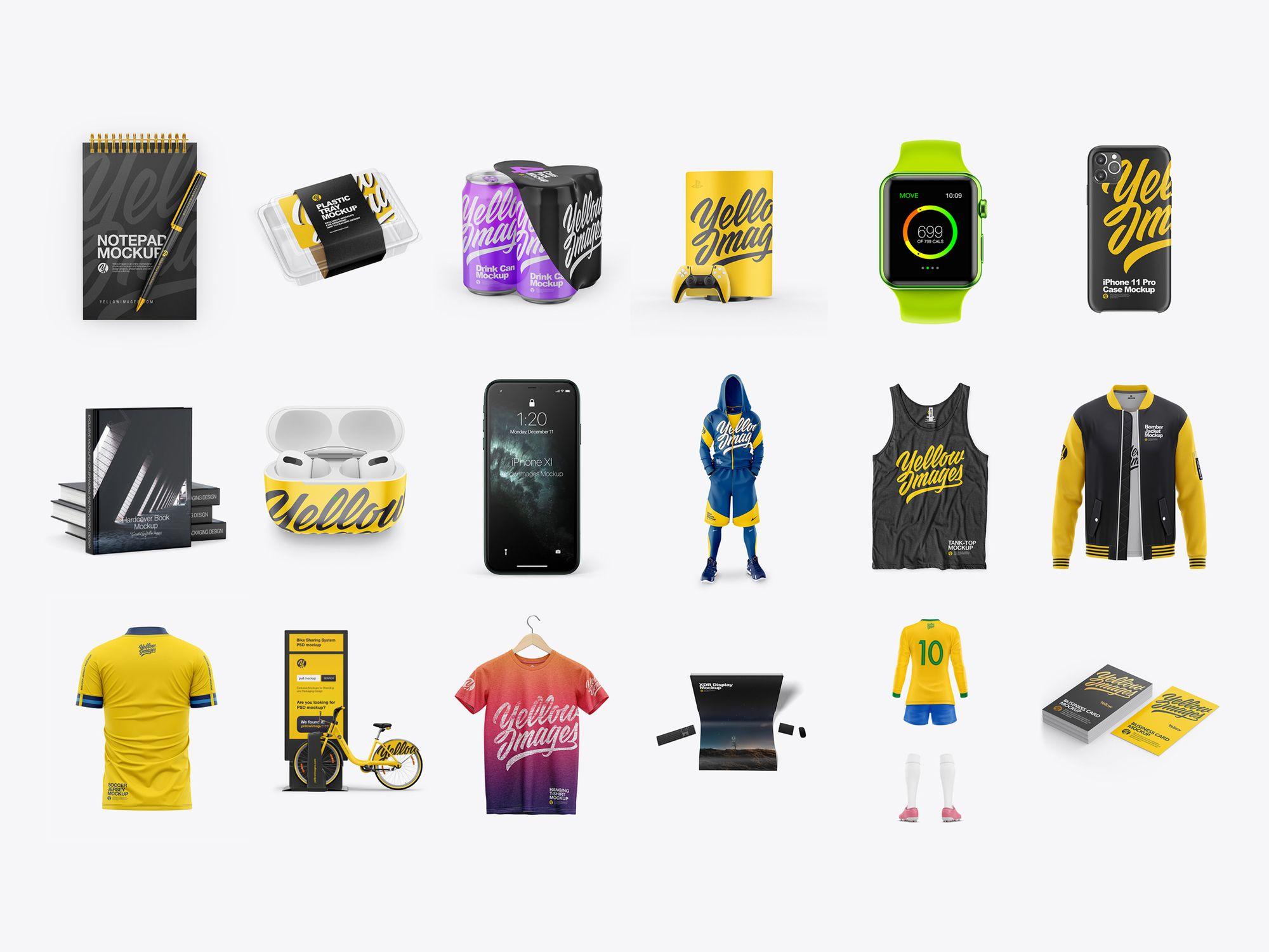 Мокапы Yellow Images фирменный стиль, айдентика, брендирование
